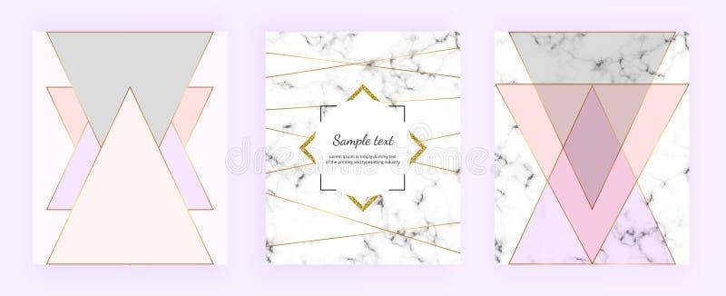 Les dessins géométriques de couverture réglée avec la texture de marbre, or raye, des triangles, rose en pastel, gris colore le f illustration stock