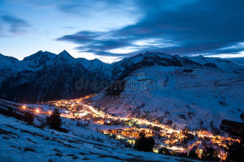 Les deux alpes at night. Panoramic view over the French ski resort les deux alpes at Night royalty free stock images