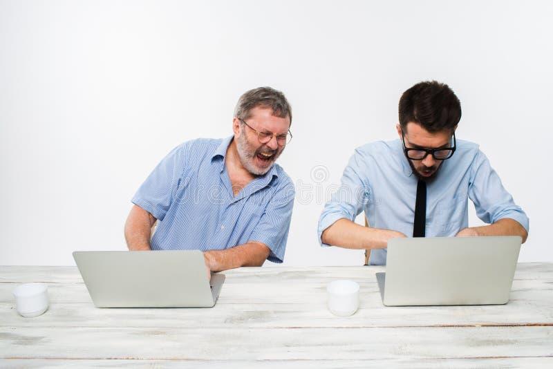 Les deux collègues travaillant ensemble au bureau sur le fond blanc images libres de droits