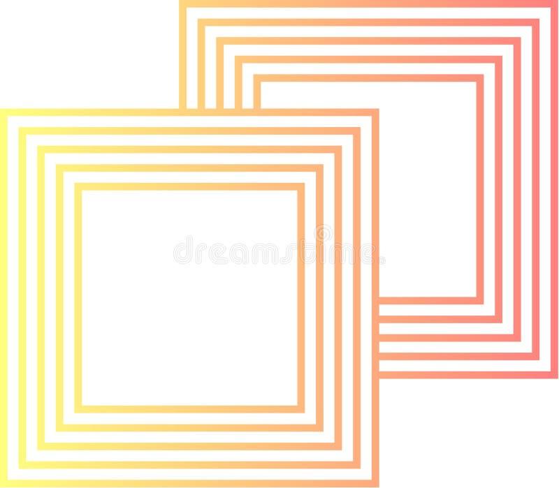 Les deux logos rayés par boîte illustration stock