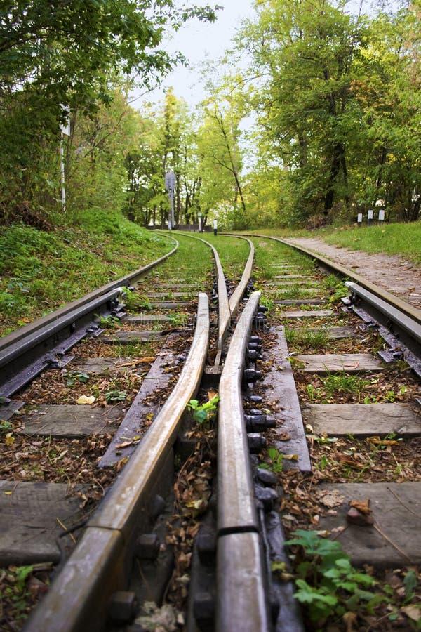 Les deux voies de chemin de fer à voie étroite, voies divergentes image stock