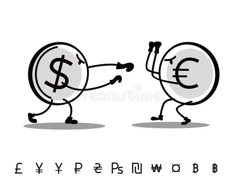Les devises tirées d'amusement se combattent Euro d'attaques du dollar illustration de vecteur