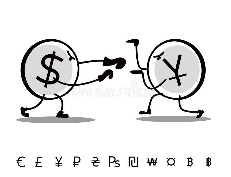 Les devises tirées d'amusement se combattent Yuans d'attaques du dollar illustration libre de droits