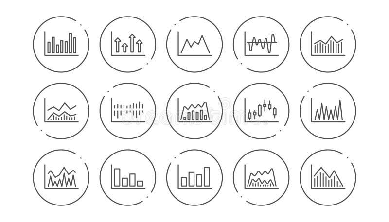 Les diagrammes et les graphiques rayent des ic?nes Graphique de chandelier, diagramme d'Infochart et de rapport Ensemble lin?aire illustration stock
