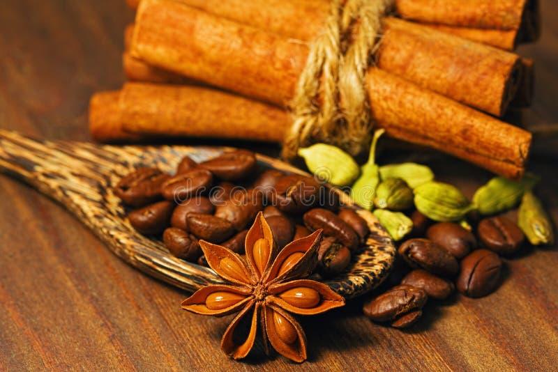 Les différentes épices et les grains de café rôtis shooted dans le macro images stock