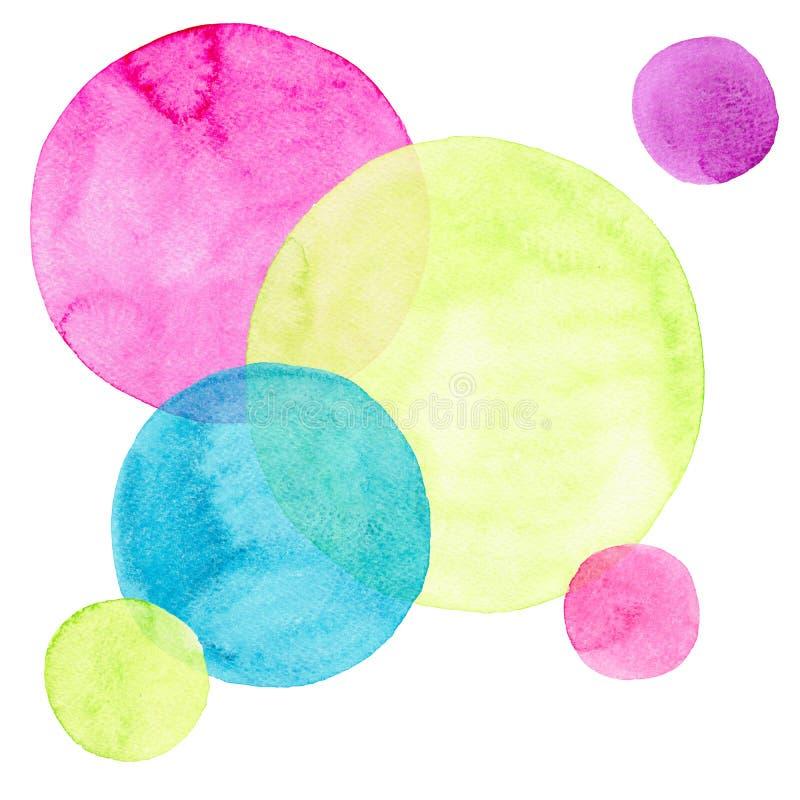 Les différentes formes de beaux cercles colorés lumineux transparents merveilleux tendres artistiques abstraits modèlent l'aquare illustration libre de droits