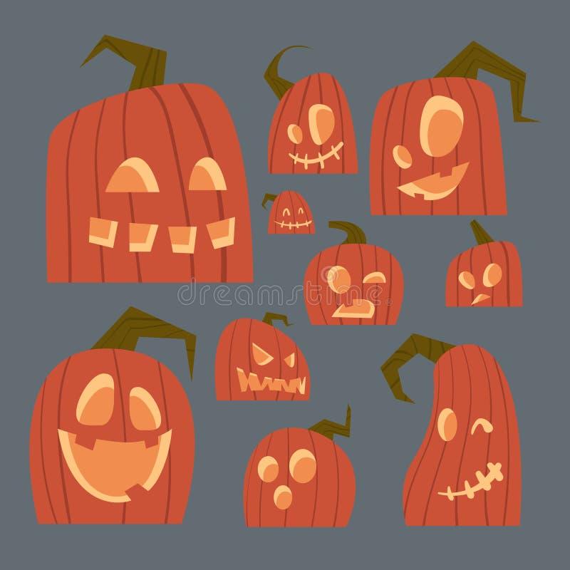 Les différentes icônes de visages de potirons ont placé le symbole traditionnel heureux Jack Lanterns Collection de Halloween illustration de vecteur