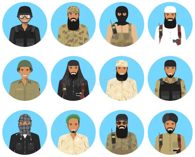 Les différentes icônes d'avatars de caractères de dirigeants et de soldats de Moyen-Orient de musulmans ont placé dans le style p illustration de vecteur