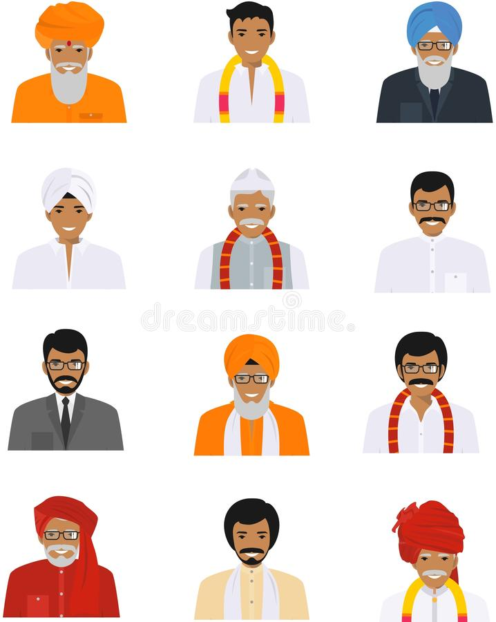 Les différentes icônes indiennes vieilles et de jeunes hommes de caractères d'avatars ont placé dans le style plat sur le fond bl illustration de vecteur
