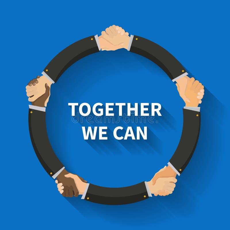 Les différentes nations de personnes se serrent la main, illustration plate conceptuelle avec la longue ombre illustration libre de droits