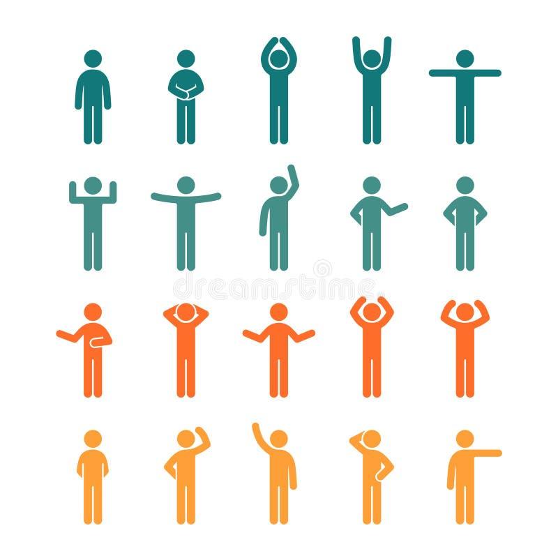 Les différentes poses collent l'ensemble d'icône coloré par pictogramme de personnes de figure illustration de vecteur