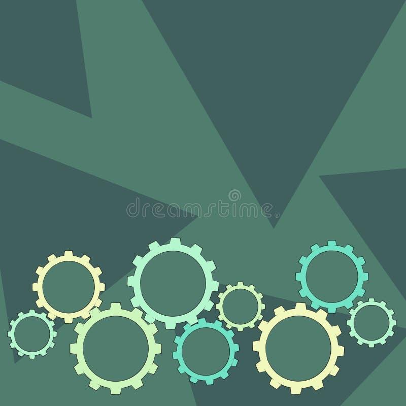 Les différentes tailles de la roue de dent de couleur embrayent s'engager, verrouillage, Tesselating Idée créative de fond pour i illustration libre de droits
