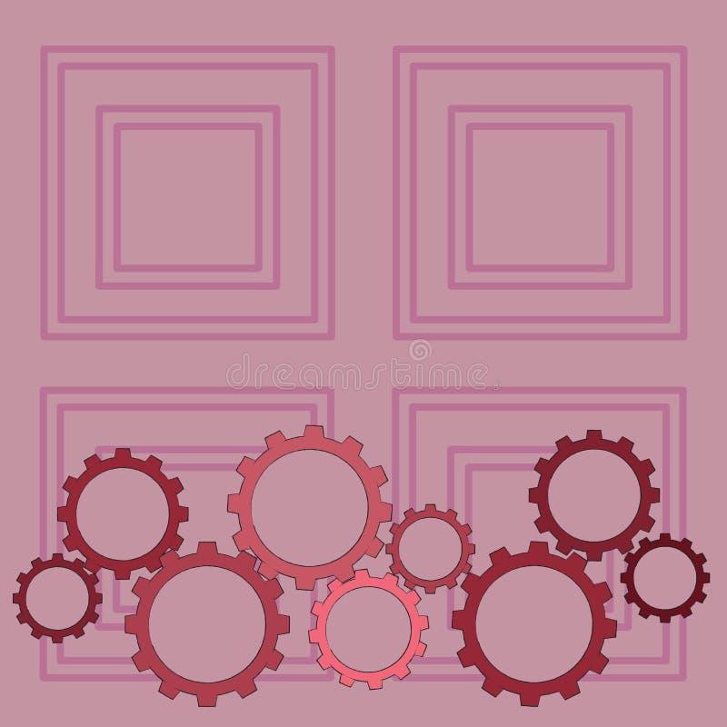 Les différentes tailles de la roue de dent de couleur embrayent s'engager, verrouillage, Tesselating Idée créative de fond pour i illustration stock