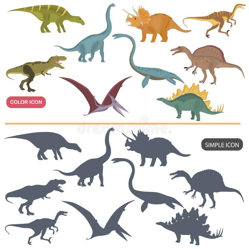 Les différents dinosaures colorent les icônes plates et simples réglées illustration stock