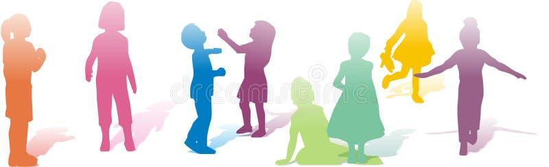 Les différents enfants jouent illustration de vecteur