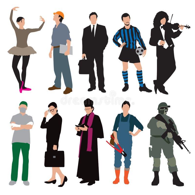 Les différents travaux et uniformes illustration de vecteur