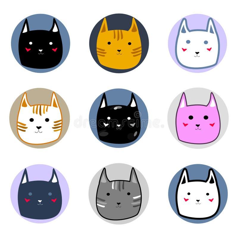 Les différents visages colorés mignons de chat dans le style de bande dessinée de cercles dirigent l'illustration illustration de vecteur