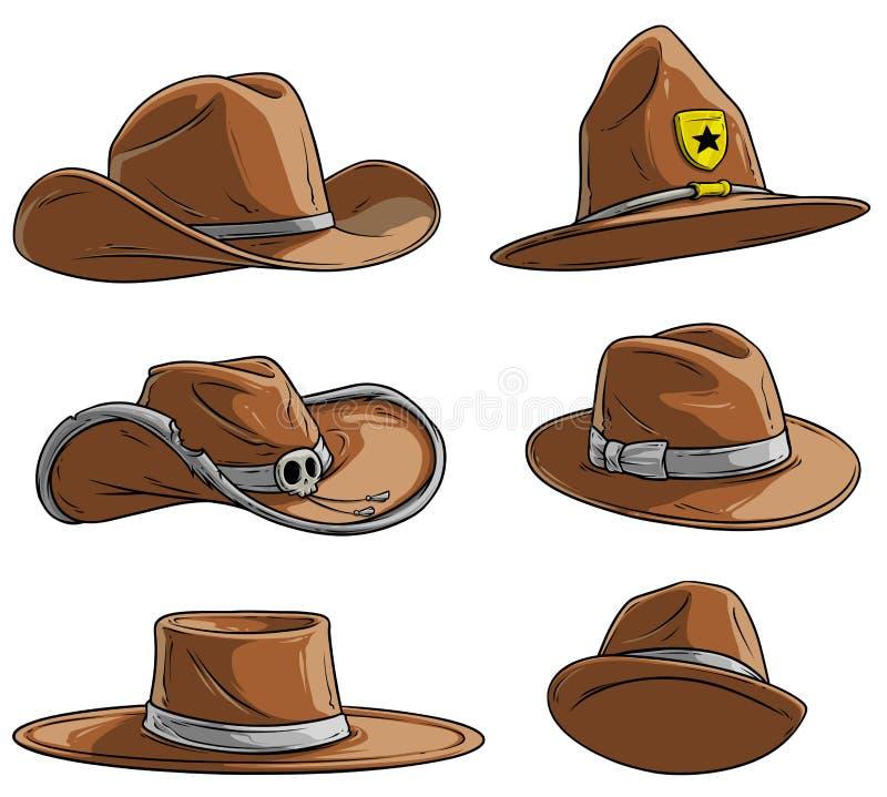 Les diff?rents chapeaux et chapeaux de bande dessin?e dirigent l'ensemble d'ic?ne illustration stock
