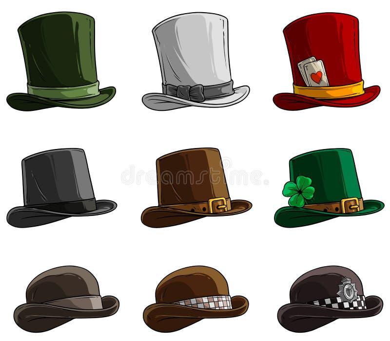 Les diff?rents chapeaux et chapeaux de bande dessin?e dirigent l'ensemble d'ic?ne illustration libre de droits