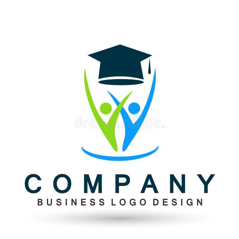 Les diplômés couplent l'élément réussi d'icône de célibataire d'obtention du diplôme du monde d'éducation d'étudiants d'icône sco illustration de vecteur