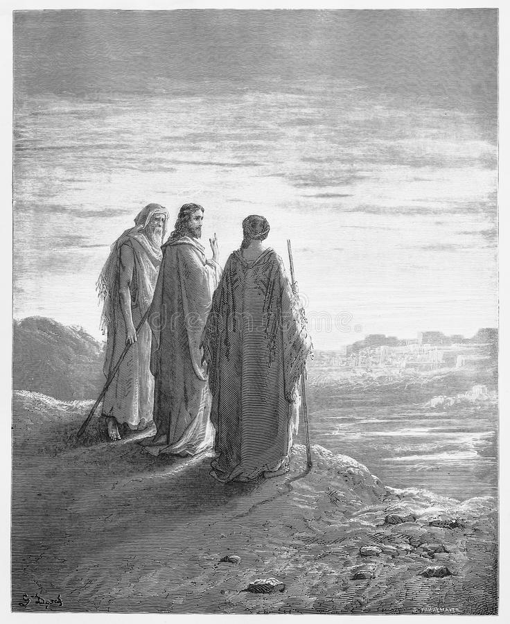 La rencontre Jésus de disciples sur la route photos stock