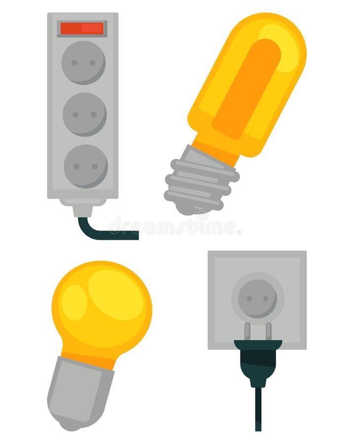 Les dispositifs électriques en couleurs dirigent l'affiche d'isolement sur le blanc illustration stock