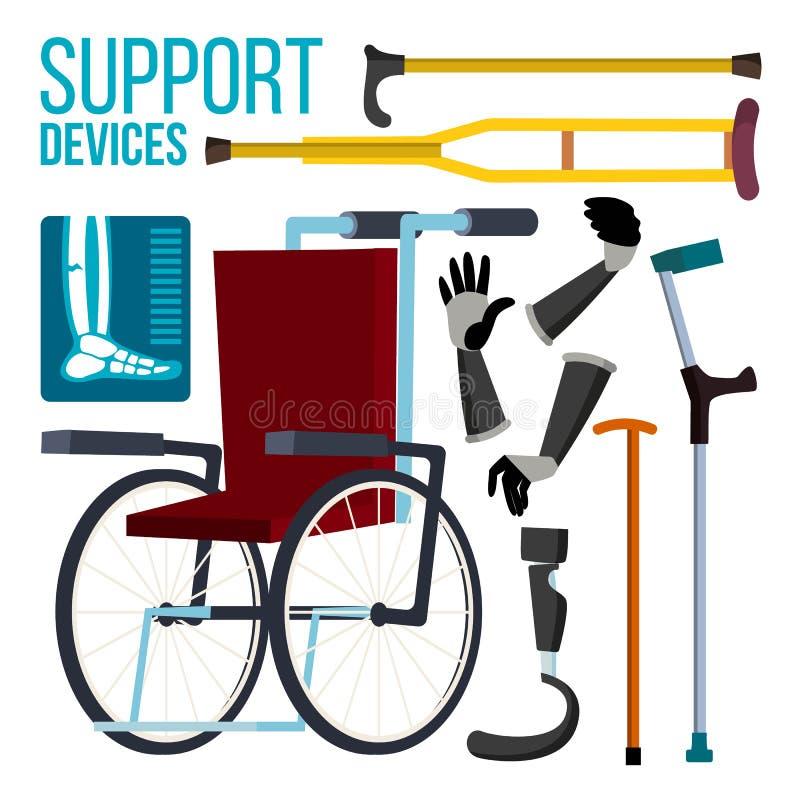 Les dispositifs de soutien dirigent Fauteuil roulant Prothèse d'amputation Illustration plate d'isolement de bande dessinée illustration de vecteur