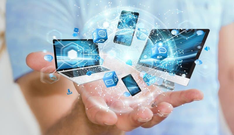 Les dispositifs de technologie se sont reliés entre eux par le rendu de l'homme d'affaires 3D illustration libre de droits