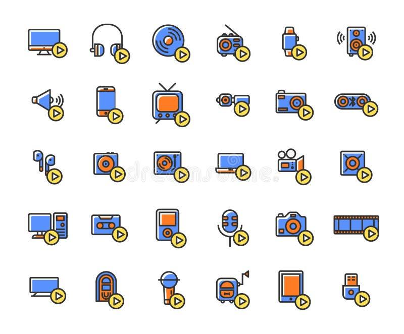 Les dispositifs et les joueurs de médias ont rempli ensemble d'icône d'ensemble illustration de vecteur