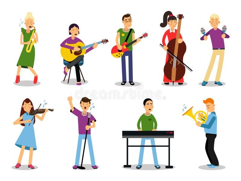 Les divers musiciens, caractères dans le style plat dirigent l'illustration illustration stock