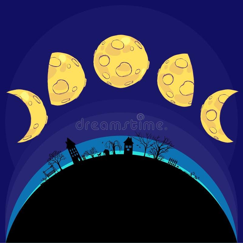 Les diverses phases de la lune. Vecteur illustration stock