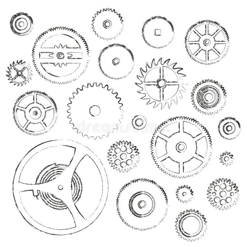Les diverses pièces de roues dentées de mouvement de montre gribouillent des icônes illustration de vecteur