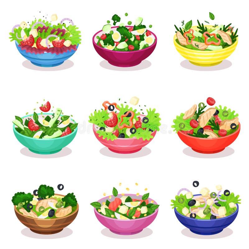 Les diverses salades salade placent, de légumes, de poissons et de viande, illustrations saines de vecteur de concept de consomma illustration de vecteur