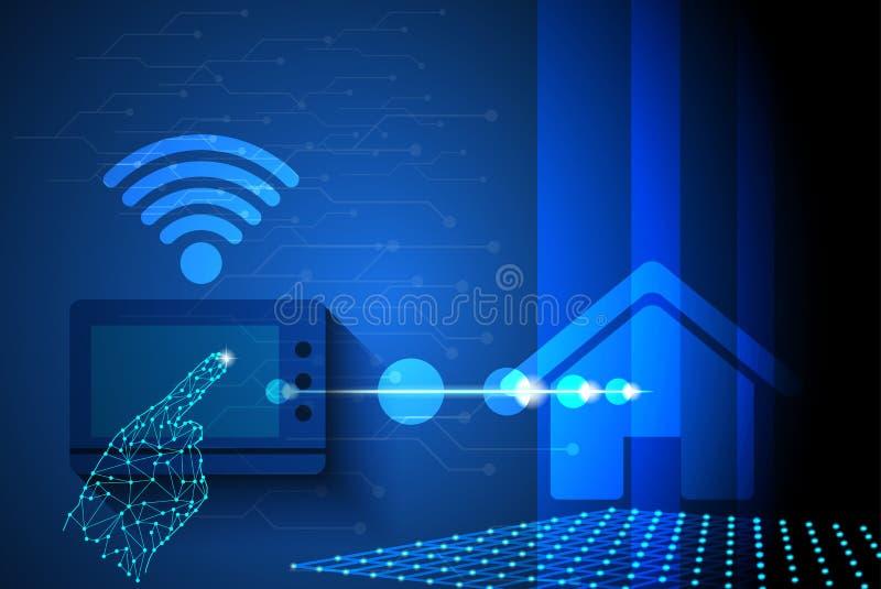 Les doigts de contact à la maison futée d'écran ont commandé le concept de réseau de service collectif  illustration de vecteur