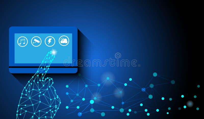 Les doigts de contact à la maison futée d'écran ont commandé le concept de réseau de service collectif  illustration libre de droits