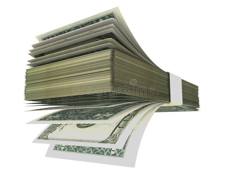 Les dollars affrontent comme la pile de fan - le rendu 3d photos libres de droits