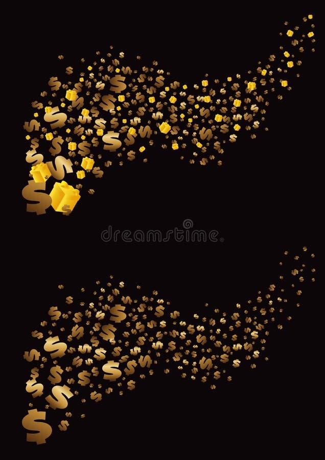 Les dollars et les cadeaux d'or volent loin sur un fond noir Illustration de vecteur illustration de vecteur