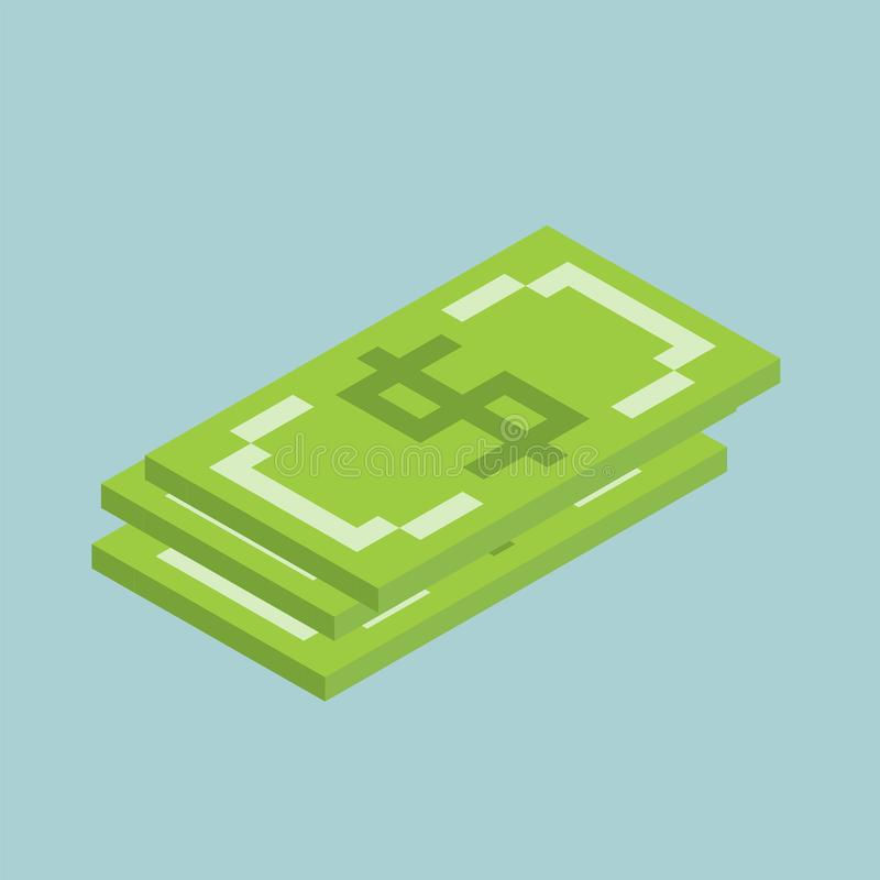 Les dollars, mâles signent des cubes forment, illustration isométrique d'icône de devise des USA illustration de vecteur