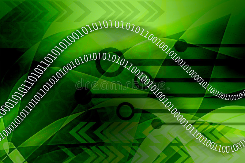 les données binaires verdissent la fuite illustration stock