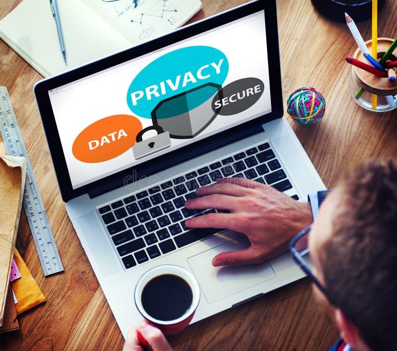 Les données d'intimité fixent le concept de sécurité de protection image stock