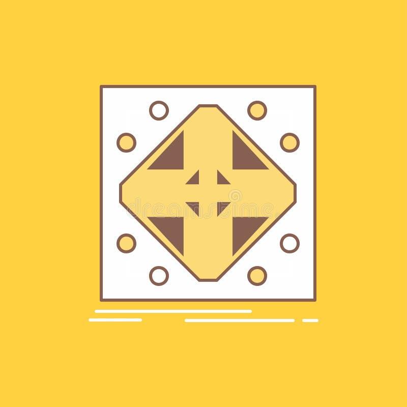 Les données, infrastructure, réseau, matrice, ligne plate de grille ont rempli icône Beau bouton de logo au-dessus de fond jaune  illustration de vecteur