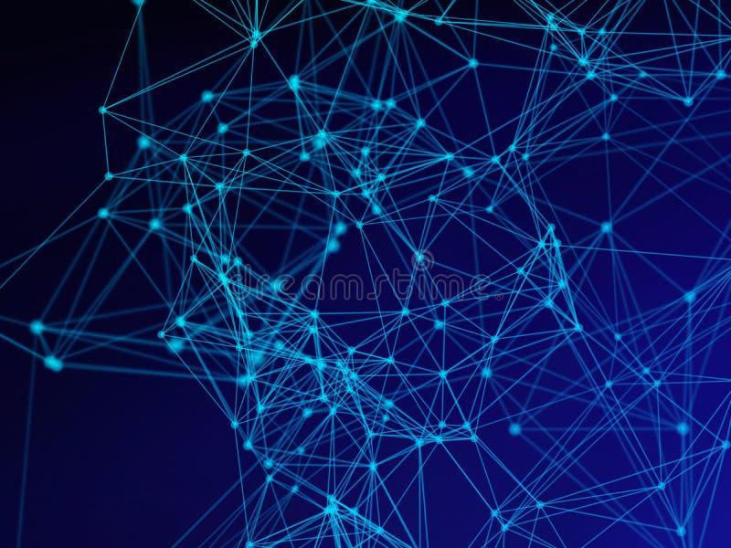 Les données numériques et la triangle bleues de connexion réseau rayent pour la technologie illustration libre de droits