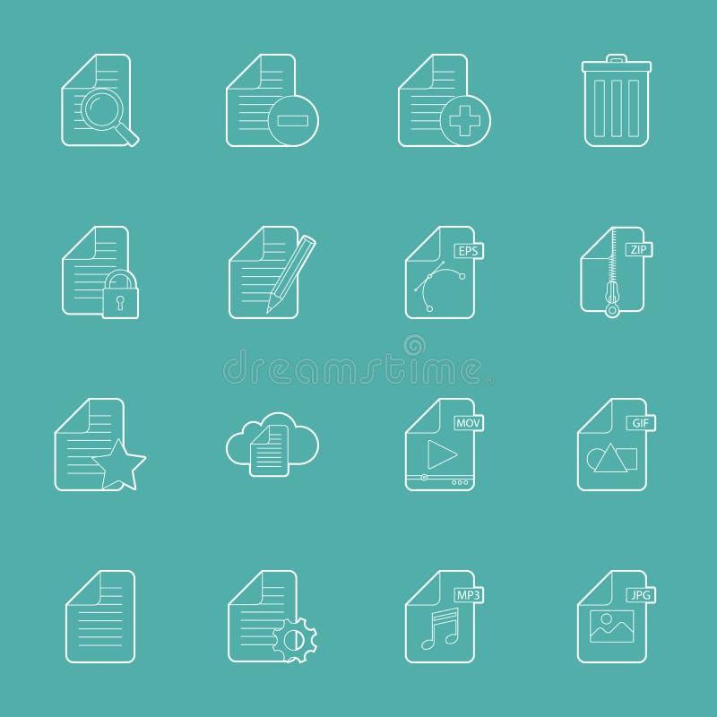 Les dossiers et les documents amincissent des lignes icônes réglées illustration de vecteur