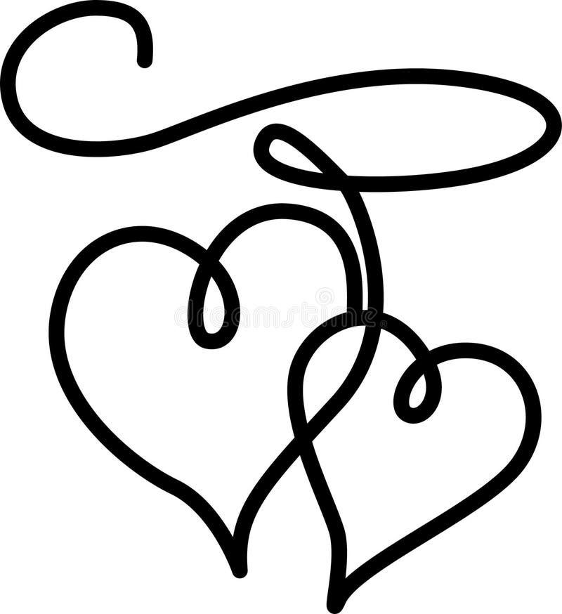 Les doubles coeurs se sont connectés par une corde illustration libre de droits