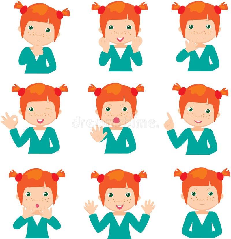 Les doutes roux de fille, se réjouit, fâché et donne des conseils illustration stock