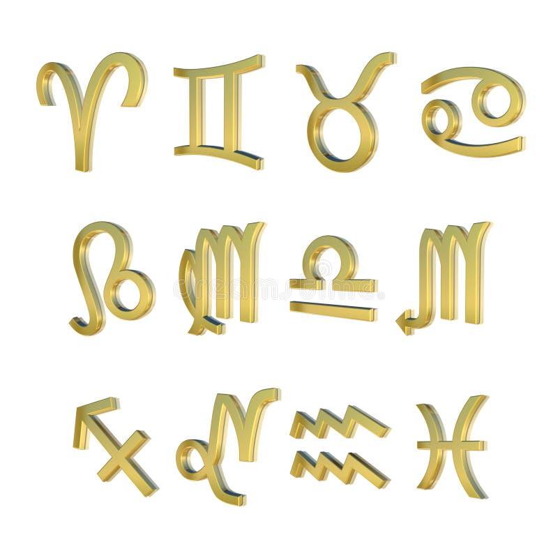 Les douze signes du zodiaque illustration libre de droits