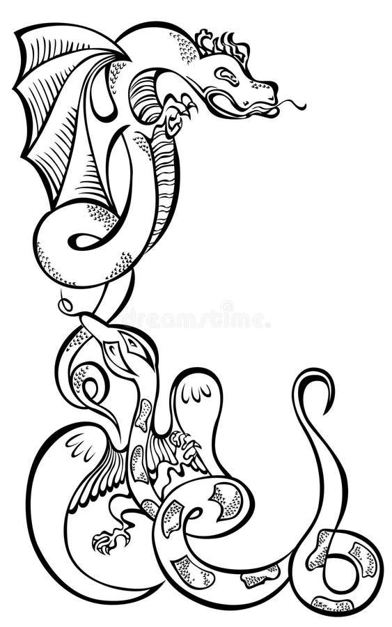 Les dragons de l'animal deux noircissent l'art décoratif illustration de vecteur