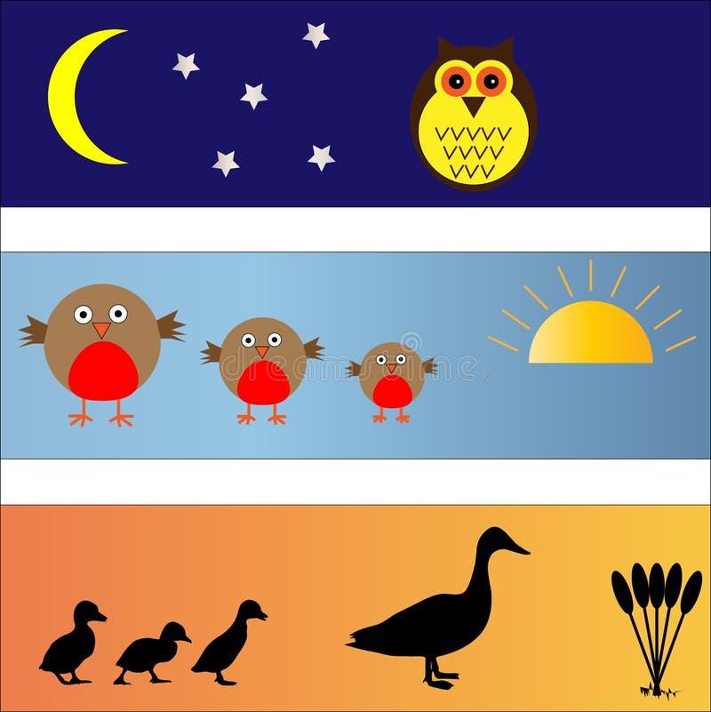 Les drapeaux d'oiseau ont placé illustration libre de droits
