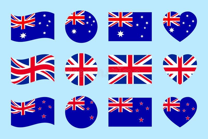 Les drapeaux de l'Australie, Grande-Bretagne, Nouvelle-Zélande dirigent l'ensemble Icônes d'isolement par appartement Australien, illustration stock