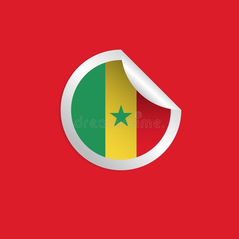 Les drapeaux de label du Sénégal dirigent l'illustration de conception illustration de vecteur